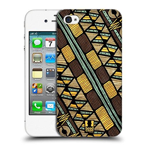 Head Case Designs Stampa Diagonale Egiziana Linee Etniche Cover Retro Rigida per Apple iPhone 4 / 4S
