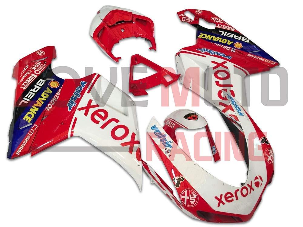 LoveMoto ブルー/イエローフェアリング デュカティ ducati 1098 848 1198 2007 2008 2009 2010 2011 2012 07-12 ABS射出成型プラスチックオートバイフェアリングセットのキット ホワイト レッド   B07KQ5JFHM