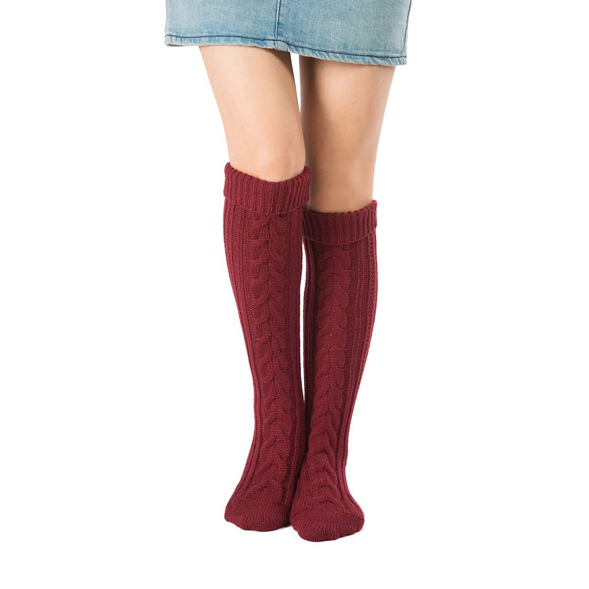 Women Leg Warmer Boot Cuffs Step Foot Cable Knit Knee Stocking High Socks Supreme glory SGto-E874769