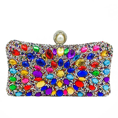 MultiColored Pearl Clasp Women Crystal Purse Evening Handbags Wedding Clutch Bag