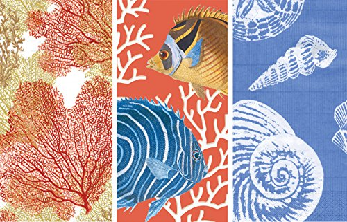 Caspari Guest Towels Collection (Sea Fans Coral, Coral Reef, Shells Ocean ()