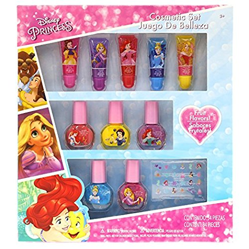 Townley Girl Disney Themed Super Sparkly Cosmetic Set with Lip Gloss, Nail Polish and Nail Stickers (Disney Princess)