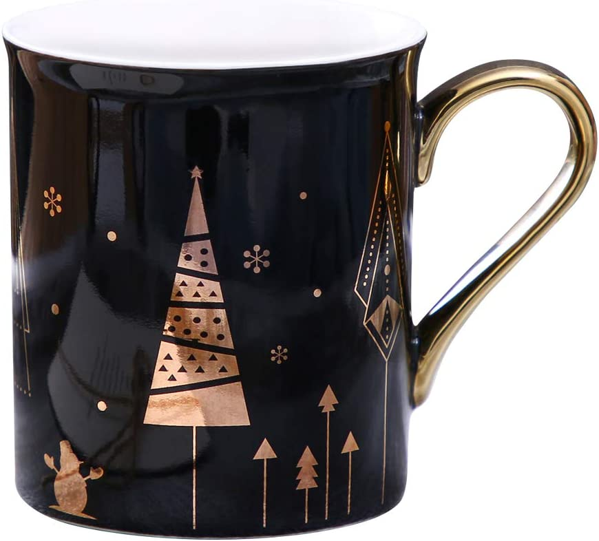 WAVEYU Ceramic Mug for Mother's Day, Holiday Coffee Mug Chic Gift with Handle Decoration with Sparky Gold Girly Coffee Cup for Girl Women for Ideal Gifts,9 OZ (Black)