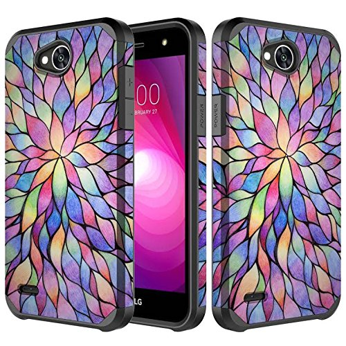 LG X Power 2 Case, LG Fiesta LTE Case, LG Fiesta 2 Case, LG K10 Powers Case,LG X Charge [Shock Proof] Hybrid Dual Layer Armor Defender Protective Case Cover for LG X Power 2/LG Fiesta - Rainbow Flower