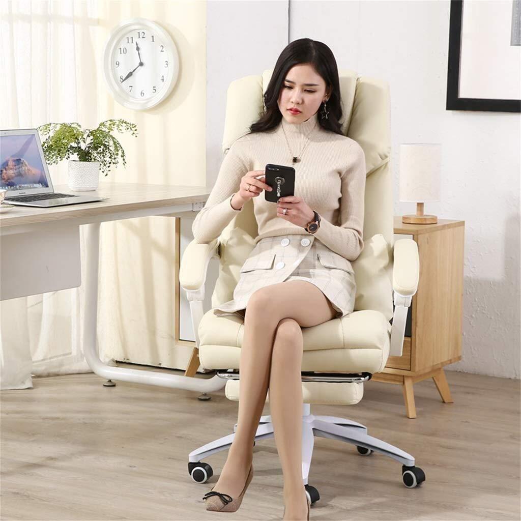 Kontorsstolar i konstläder, med fotstöd och högt ryggstöd | Nylonbas | 170 deg; avlastar | 10 cm lyft | verkställande stolar i rosa, beige (färg: Beige) (färg: Beige) BEIgE