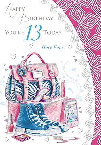 Carte D Anniversaire Pour Jeune Fille De 13 Ans En Anglais Avec Image Sac Telephone Baskets Et Maquillage 19 1 X 13 3 Cm Amazon Fr Cuisine Maison