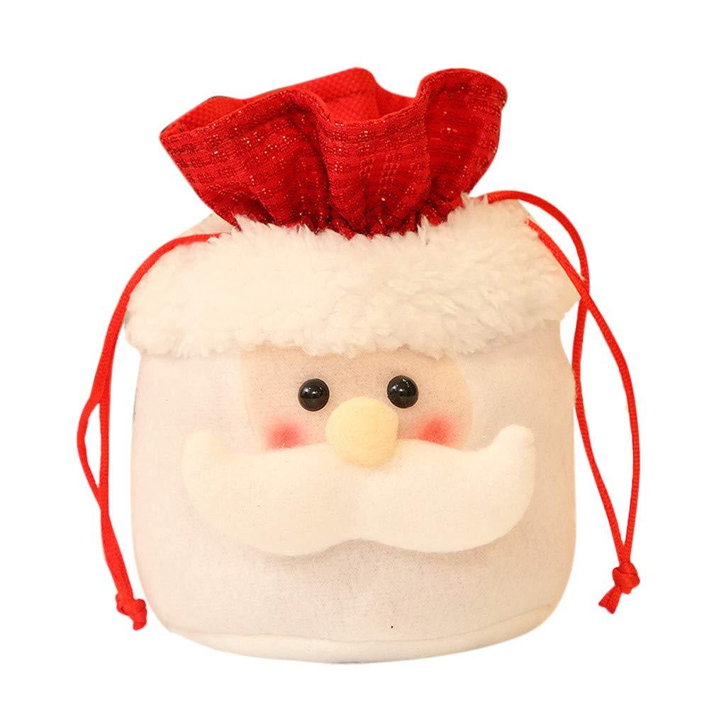 SUKEQ Christmas Bag Santa Claus Candy Party Gift Bag Decorations Xmas Storage Packing Wrapper Supplies Drawstring (Santa Claus)