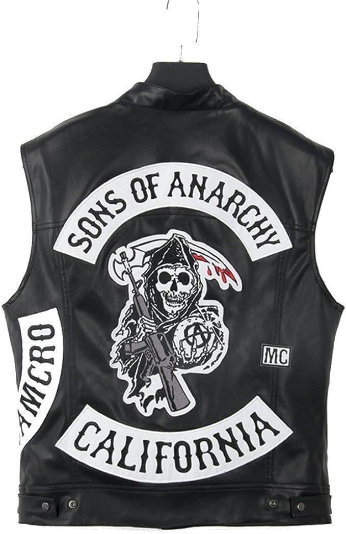 Sons Of Anarchy Jacket ärmellos 100 Büffelleder 2 Zusätzliche Patches Expresslieferung M Amazon De Auto Motorrad