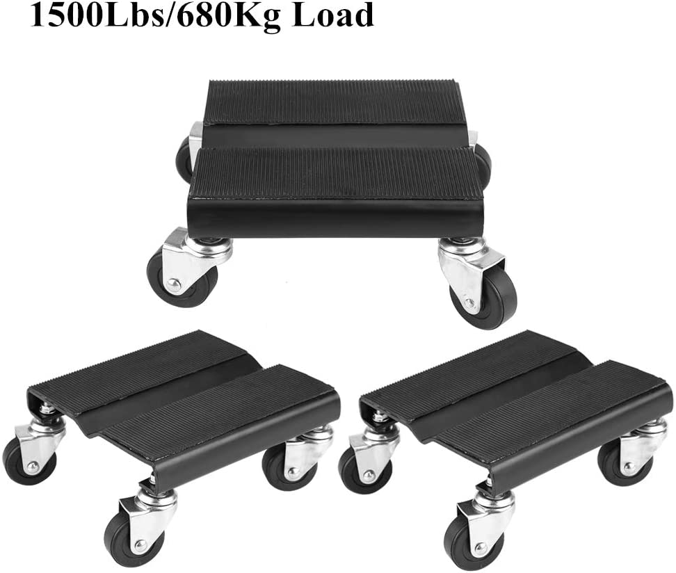 Wheel Dollies, 3 Set Car Skate Dolly Van Position Garage Jack Car Wheel Dolly Set para vehículo Auto Repair Auto Snowmobile Moving Dollies Set 1500lbs Capcity