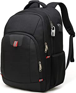 Laptop Backpack,Business Travel Backpack with USB Charging Port for Men Womens, Anti Theft Water Resistant College School Bookbag Computer Backpack Fits 15 Inch Laptop and Notebook,Black