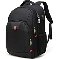 Travel Laptop Backpack,Extra Large Anti Theft College School Backpack for Men and Women with USB Charging Port,Water Resistant Big Business Computer Backpack Bag Fit 17 Inch Laptop and Notebook,Black