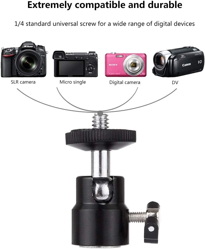 CAOMING 1//4 Inch Screw Metal Tripod Ball Head Adapter with Lock Durable