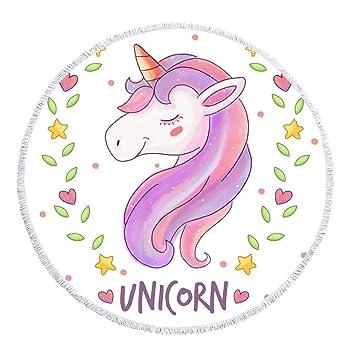 Patrón de Unicornio Pony Manta de Toalla de Playa Redonda de Microfibra, diseño de impresión Personalizado, Secado rápido, Manta de Playa cómoda: Amazon.es: ...