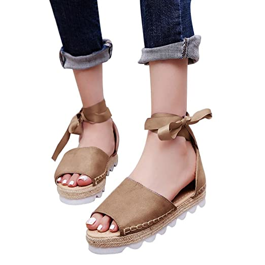 ccf7b66be08 Amazon.com: TOTOD Women Shoes Women Solid Flock Peep Toe Cross Tied ...