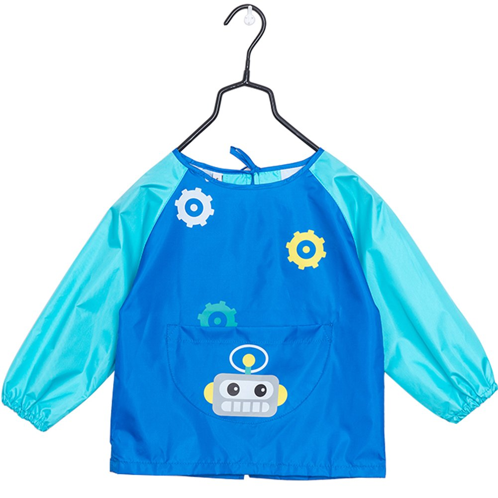 OLizee Long Sleeve Waterproof Art Smock with Front Pocket Cartoon Robot Kids Painting Apron Bib for Eating, Dark Blue S