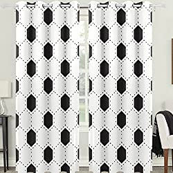 Naanle Thermal Insulated Grommet Curtains Blackout Fresh White and Black Football Stripe Soccer Ball Pattern Sport Decor Solid Window Drapes for Living Room (2 Panels,55 x 84 inches)