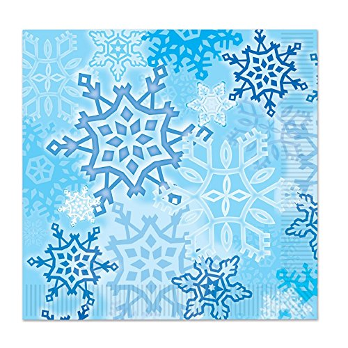 Club Pack of 192 Snow White and Blue Snowflake Christmas Disposable Luncheon 2-Ply Napkins (Snowflake Paper Napkins)