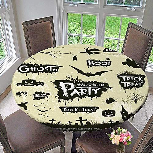 Mikihome Premium Tablecloth Happy Halloween Silhouette Collections Design,Vector Everyday Use 47.5