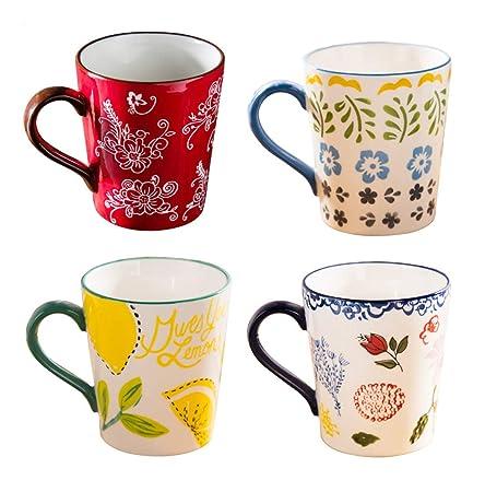 Tazas de cerámica estilo pastoral - Juego de tazas de ...