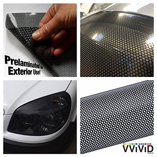 "VViViD Black Perforated Headlight Wrap Self-Adhesive Cover 12"" x 48"" Roll DIY"