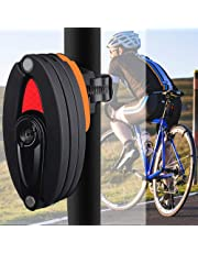 AutoWT Candados de Bicicleta, Cerradura Plegable con Soporte Nivel de Seguridad de Bicicleta 10 Alto con 3 Teclas para Bicicleta de montaña Road BMX MTB