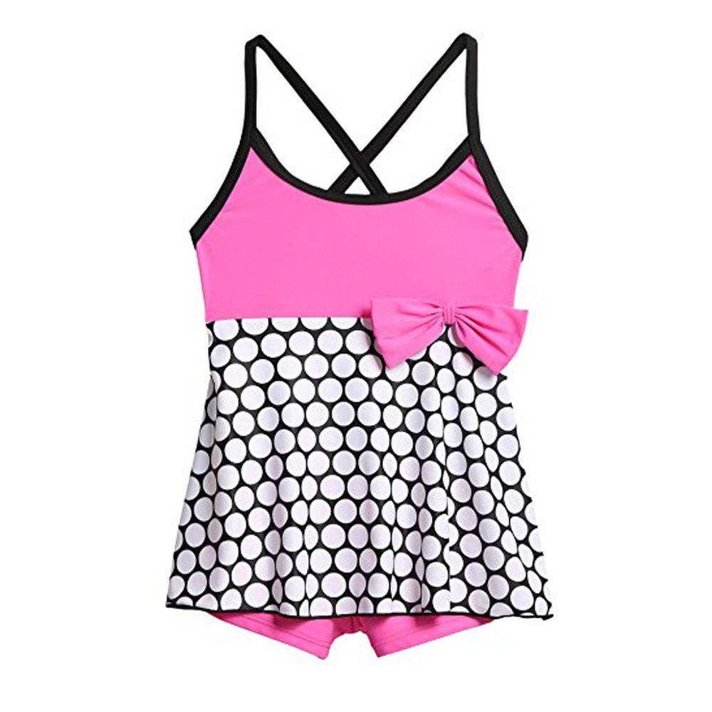 Arshiner Girls Swimming Costume Polka Dot Skirted One Piece Swimsuit with Bow AMS005074