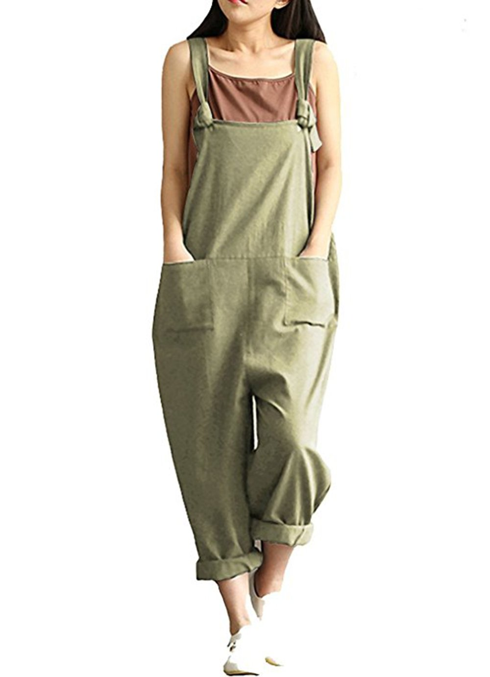 Aedvoouer Womens Casual Loose Cotton Bib Baggy Overalls Jumpsuit Pants Plus Size Romper (3XL, Green)