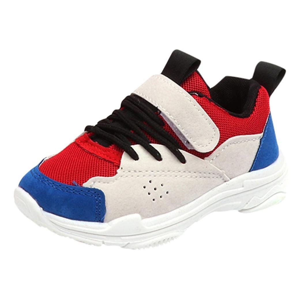 Lanhui Child Kids Boy Girls Colors Sport Running Style Hook Loop Sneakers Shoes (Age:4.5-5years, Blue)