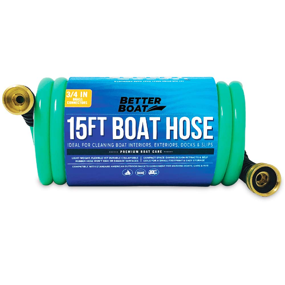 Coil Hose Water Hoses Expandable 15FT Perfect RV Water Hose or Boat Hose or Short Garden Hose Marine Grade 3/8 Inch