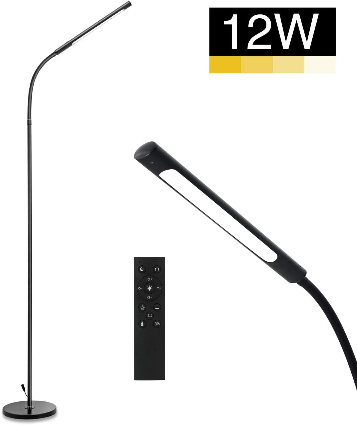 IMIGY 12W Floor Lamp, 600 Lumens Dimmable Flexible Gooseneck Standing LED Lamp, 4 Color Modes, Stepless Brightness Dimmable, Eye-Care Touch Remote Control for Living Room, Bedroom, Office, Black