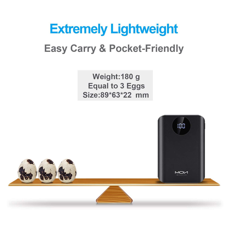 Negro Power Bank con 2 Salidas USB /& Pantalla LCD para iPhone iPad Samsung Huawei Xiaomi MOXNICE Bateria Externa Powerbank 22000mAh