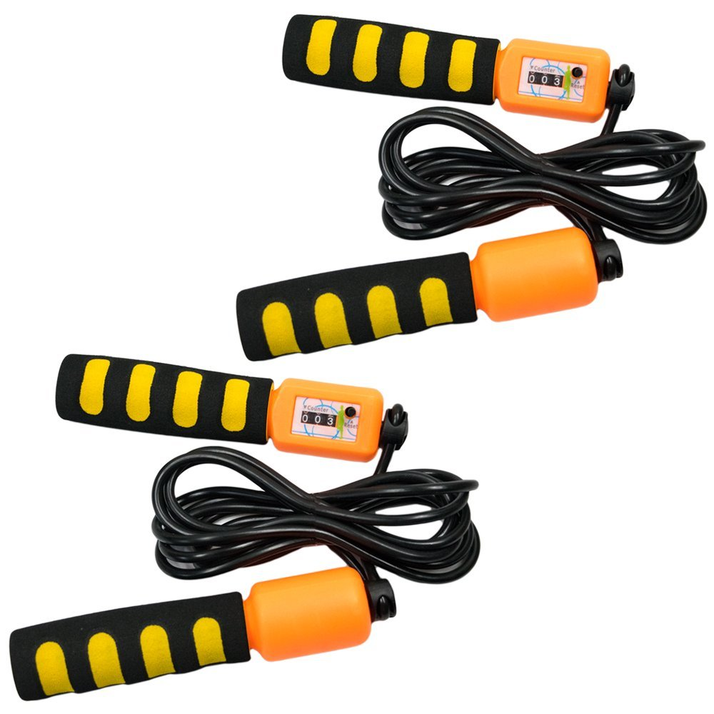 TukTek Super Jump Rope 2 Pack with Counter & Adjustable Length Kids First for Fun and Games Exercise Equipment Skipping Jump Rope for Adults Boys & Girls (2)