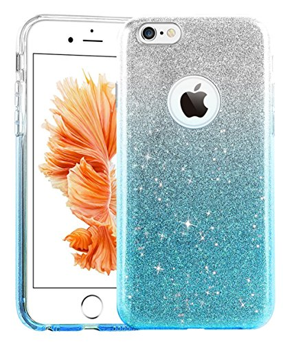 iPhone 6s Case, UnnFiko Cute Luxury Hybrid Bling Glitter Silicone Rubber Gel Shiny Sparkling with Candy Back Plate Cover Case for iPhone 6s (4.7) (Blue) (Candy Rubber)