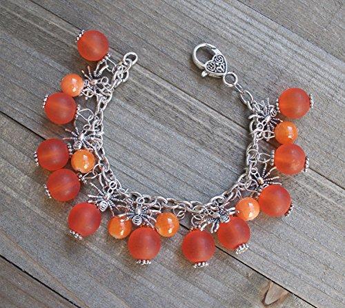 Silver Spider Bracelet Halloween Charm Bracelet Orange (Halloween Pagan Festival)