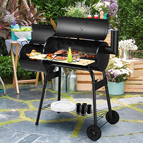 HAPPYGRILL Professional BBQ Grill Large Barbecue Charcoal Grill Oven with Non Stick Baking Mats, Removable Charcoal Grill with Wheels for Outdoor Patio Party