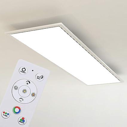 /Ø 36cm 3227-015 noir-chrome-blanc Plafonnier LED avec minuterie avec d/étecteur de mouvement avec t/él/écommande Briloner Leuchten plafonnier r/églable avec r/étro-/éclairage