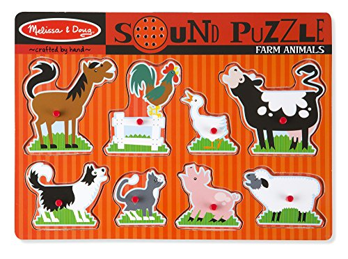 Melissa & Doug Farm Animals Sound Puzzle - Wooden Peg Puzzle With Sound Effects (8 (Doug Farm Animals)