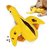 UOLIWO Dog Treat Dispensing Toy, Duck Dog Toy Squeak Dog Treat Puzzle Toy Durable Plush Chew Toys for Small Medium Large Dogs
