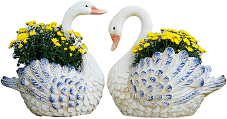 Matilda Un par de macetas de Arte de jardín de Cisne Blanco, Adornos de decoración de jardín, macetas Decorativas Grandes