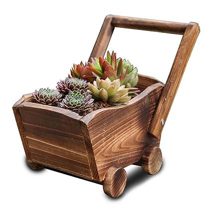 YYF carros de madera Cactus suculentas maceta macetas de ...
