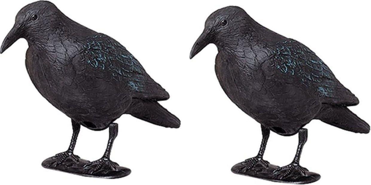 ARTECSIS Ahuyentador Aves - Cuervo Negro Espantapájaros de Plástico Efectivo para ahuyentar naturalmente Pájaros y Palomas de su Huerto, Jardín o Solar - 2 Unidades de 38 CM