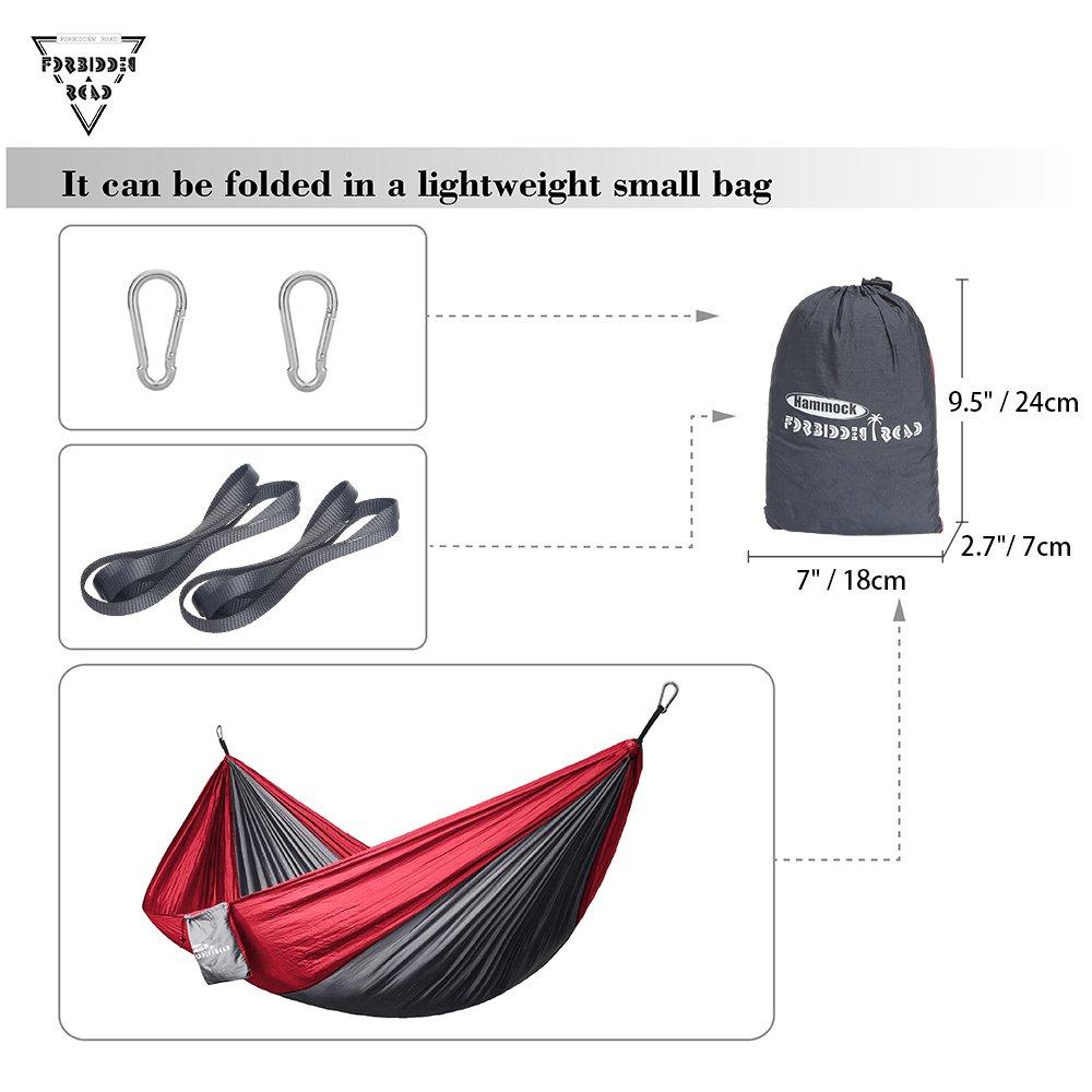 210D Nylon Taffeta Hammock Swing Grey /& Yellow Forbidden Road Hammock Single /& Double Camping Portable Parachute Hammock for Outdoor Hiking Travel Backpacking