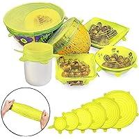 RabbitStorm Tapas Elásticas de Silicona, Envoltura Plástica Reutilizable Alternativa para Cubetas y Recipientes de Almacenamiento, Conjunto de 6 Tamaños Diferentes, para Mantener los AlimentosFrescos. Resistentes al Calor, Refrigeración, Antiderrames. Excelente para Recipientes en Lavavajillas, Microondas, Horno y Congelador (Amarillo)