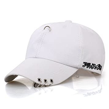 cea2035bd5037 CATOP Cotton Dad Hat Adjustable Baseball Cap Silver Ring Piercing K-Pop Hip  Hop Hat Unisex Snapback Embroidery Casual Hats White