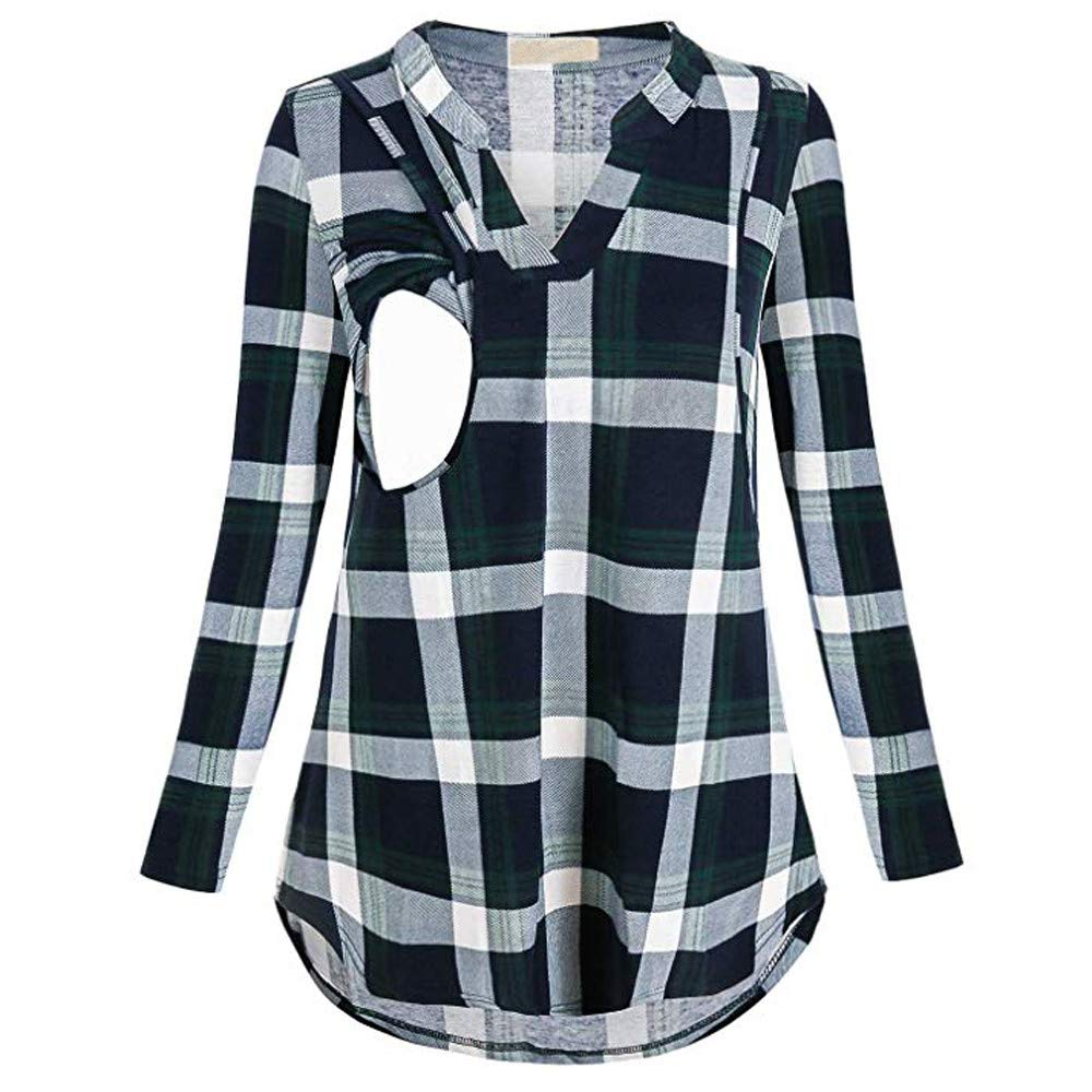 Women Mom Pregnant Nursing Baby Plaid T-Shirt Henley Tops Tunic Blouse for Breastfeeding Maternity Clothes