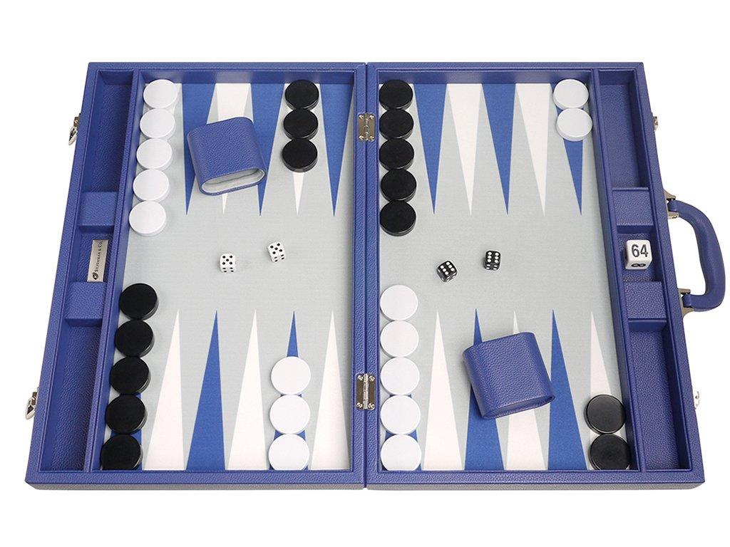 19-inch Premium Backgammon Set - Large Size - Indigo Blue Board by Silverman & Co.