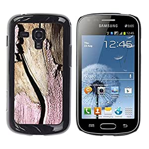 Pulsar Snap-on Series Teléfono Carcasa Funda Case Caso para Samsung Galaxy S Duos S7562, Paint Corteza de árbol Textura Sun Stripped Rosa