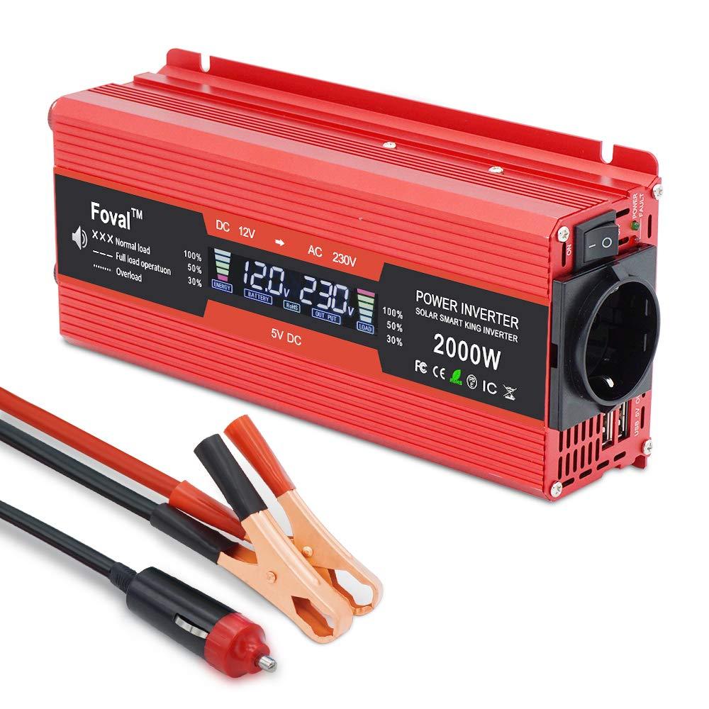 Yinleader inversor de Corriente 1000w 2000w Onda modificada 12v a 220v Transformador Enchufe Coche Dual USB para Coche Pantalla LCD Monitor, iPhone, ...