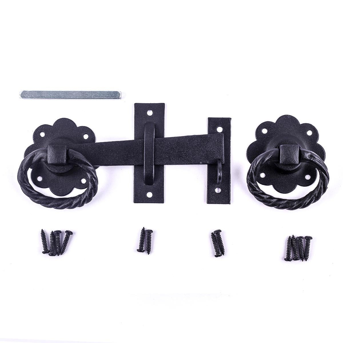 Heavy Duty Wrought Iron Floral Ring Gate Latch Lock Set 5'' Width | Renovator's Supply