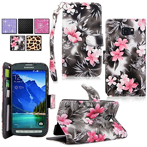 e - Cellularvilla Pu Leather Wallet Flip Open Pocket ID Card Holder Slots Case Pouch Cover Fold Stand with Wrist Strap for Samsung Galaxy S6 Active SM-G890 (Black+Pink_Flower) (F-style Handset)